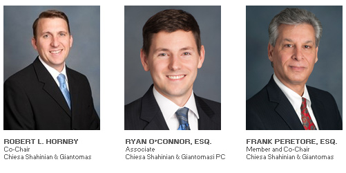 Photos of Robert L. Hornby and Ryan O'Connor, Esq. and Frank Peretore, Esq.