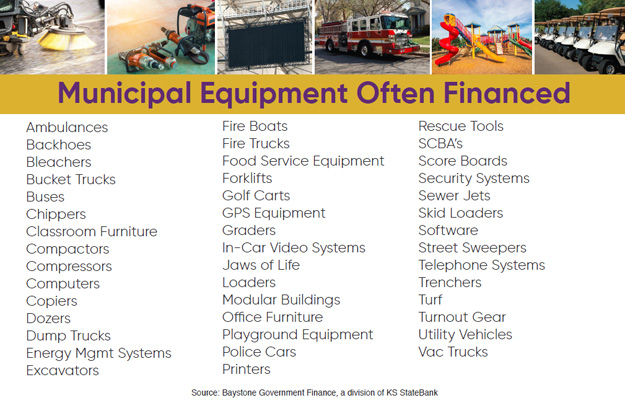 Chart of municipal equipment often financed