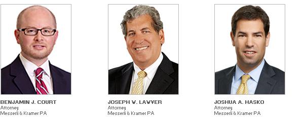 Photo of Attorneys Benjamin J. Court, Joseph W. Lawver and Joshua A. Hasko of Law Firm Messerli & Kramer PA